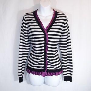 Elle Sweaters - Elle XL Purple Black & White Stripe Cardigan